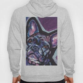 Fun French Bulldog Dog Portrait bright colorful Pop Art by LEA Hoody