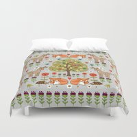 wild things Duvet Covers featuring Woodland Wild Things by Angie Spurgeon
