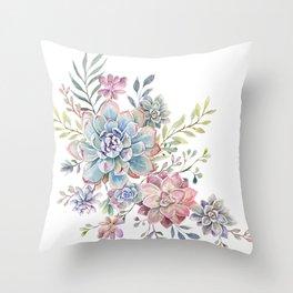 succulent watercolor 6 Throw Pillow