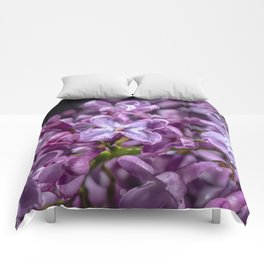 Purple Lilacs in the rain Comforters
