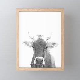 Cow black and white animal portrait Framed Mini Art Print