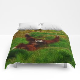 Gibbon in jungle Comforters
