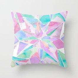 Kaleidoscope watercolor indigo Throw Pillow