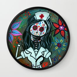 MY FAVORITE NURSE MEXICAN DAY OF THE DEAD PAINTING Wall Clock