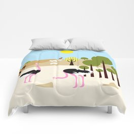 Ostriches in the desert Comforters