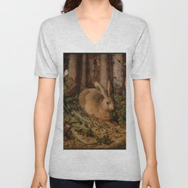 A Hare In The Forest Hans Hoffmann Unisex V-Neck