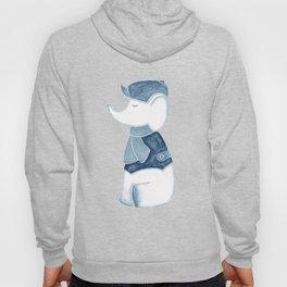 Elephant and Beret Blue Gray Hoody