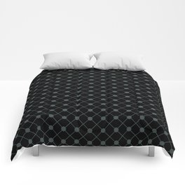 PPG Night Watch Pewter Green Thin Line Stripe Grid (Pinstripe) and Polka Dots on Black Comforters