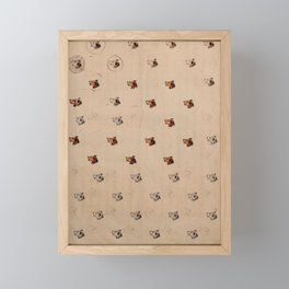 Antique French Dog Pattern Framed Mini Art Print