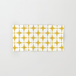 Mid Century Modern Star Pattern Yellow Hand & Bath Towel