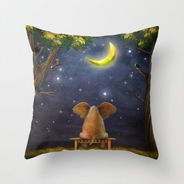 Illustration of a elephant on a bench in the night forest  Throw Pillow