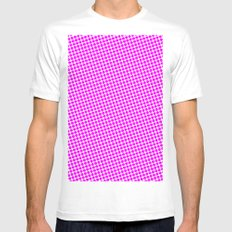 PINK DOT - SMALL - White MEDIUM Mens Fitted Tee