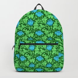 William Morris Anemone, Emerald Green and Cerulean Blue Backpack