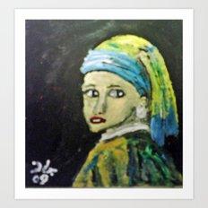 GIRL WITH THE PEARL EARRINGS Art Print