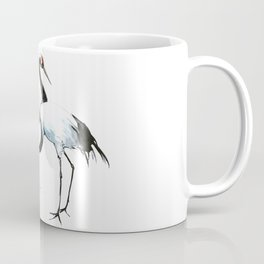 Japanese Cranes, Asian ink Crane bird artwork design Coffee Mug