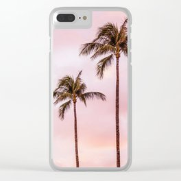 Palm Tree Photography Landscape Sunset Unicorn Clouds Blush Millennial Pink Clear iPhone Case
