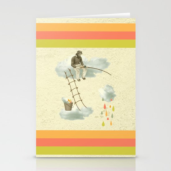 The fisherman who was cleaning the sky from the clouds Stationery Cards