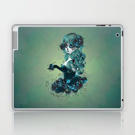 Sugar skull girl in blue Laptop & iPad Skin