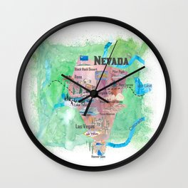 USA Nevada State Illustrated Travel Poster Favorite Map Wall Clock