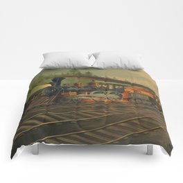 Night Scene on the NY Central Railroad (Currier & Ives) Comforters