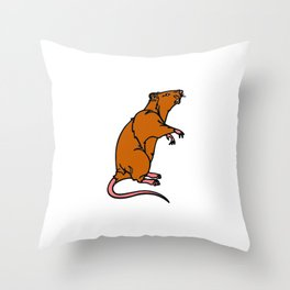 A Rat Standing on its legs Sniffing in Color Throw Pillow