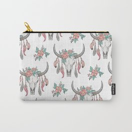 Boho Longhorn Cow Skull with Feathers and Peach Flowers Carry-All Pouch