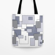 Squares - gray, purple and white. Tote Bag