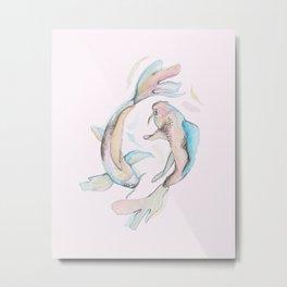Koi Fish Twins Metal Print