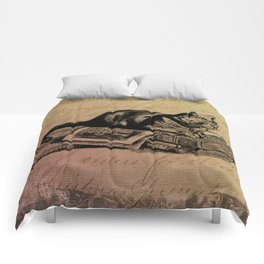 Vintage Cat Collage-Grunge Background Comforters