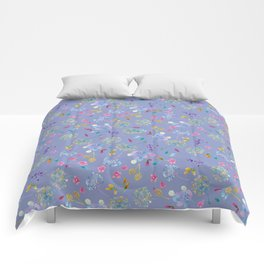 Bright Blossoms on Periwinkle Comforters