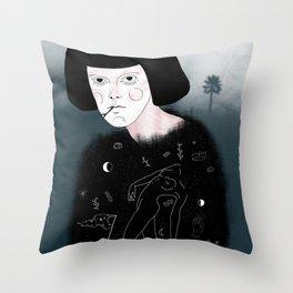 Foggy girl Throw Pillow