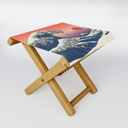 The Great Wave of Pug Folding Stool