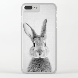 Rabbit - Black & White Clear iPhone Case