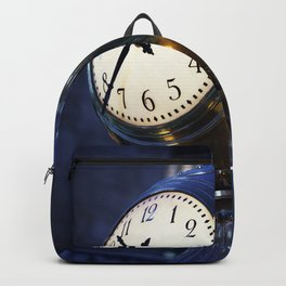 Clock in New Yorks Grand Central Station commuter terminal Backpack