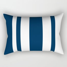 Mixed Vertical Stripes - White and Oxford Blue Rectangular Pillow