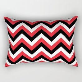 Red Black and White Chevrons Rectangular Pillow