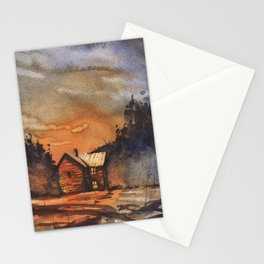 Fine art original watercolor painting of barn and trees at sunset Stationery Cards
