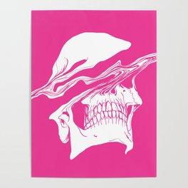 Liquify skull in hot pink Poster