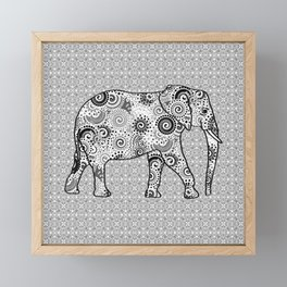 Fractal Swirl Elephant, Grey, Black and White Framed Mini Art Print