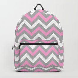 Pink and Grey Chevron Backpack
