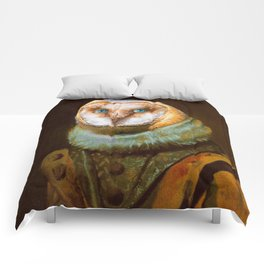 Animals - Funny Owl Painting Comforters