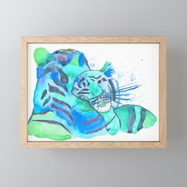 Cuddling Tigers - Tropical Turquoise Framed Mini Art Print