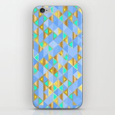 Contemporary Faux Gold and Blue Triangles Pattern iPhone & iPod Skin