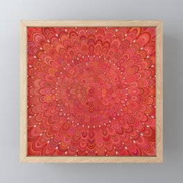 Red Floral Mandala Framed Mini Art Print