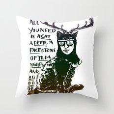Hipster Cat giving Smart Advice Throw Pillow