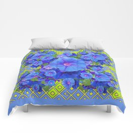 Lime-Blue Morning Glories Pattern Art Comforters