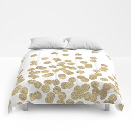 Gold Glitter Dots in scattered pattern Comforters
