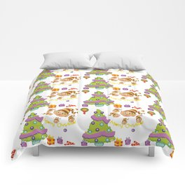 Hand painted green red Merry Christmas holiday typography pattern Comforters