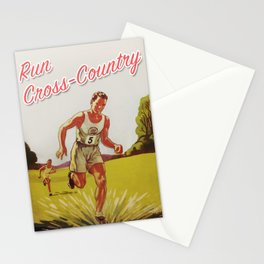 Run Cross-Country Vintage Art Print Stationery Cards