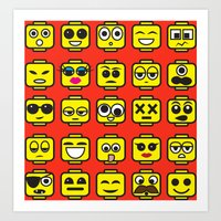 Yellow Cartoon Faces on Pink Background Art Print
